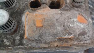 Oude schoorsteen bovenaanzicht